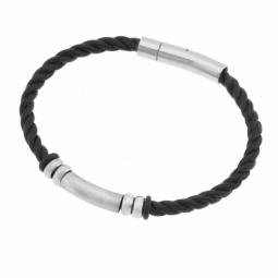 Bracelet en cuir et acier