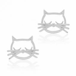 Boucles en argent rhodié, chat