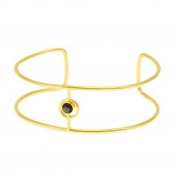 Bracelet jonc ajouré  en plaqué or, nacre grise