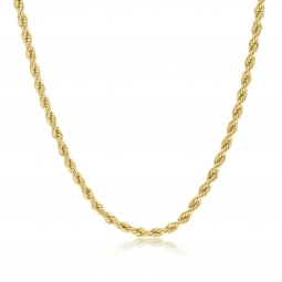 Collier en plaqué or, maille corde
