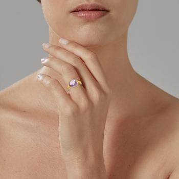 Bague en or jaune rhodié, améthyste et diamants