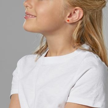 Boucles d'oreilles en or jaune laque, coccinelle