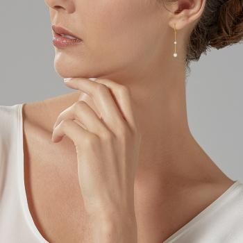 Boucles d'oreilles en or jaune, perles de culture