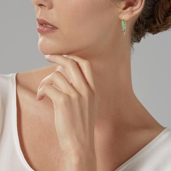 Boucles d'oreilles or jaune, laque et cristaux de sythèse