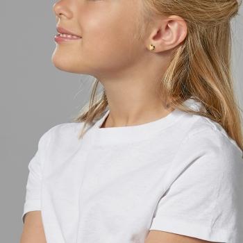 Boucles d'oreilles en or jaune, coeur perlé.