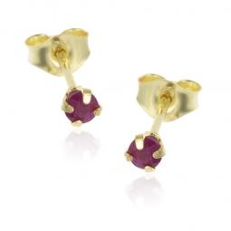Boucles d'oreilles en or jaune, rubis 3 mm