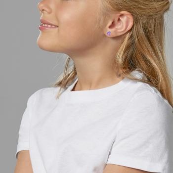 Boucles d'oreilles en argent rhodié et laque mauve, coccinelle