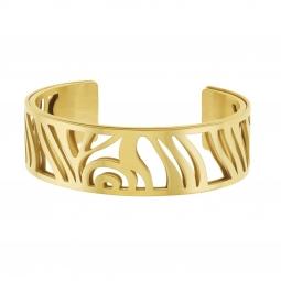 Bracelet jonc Méli Versa en acier doré, 20mm