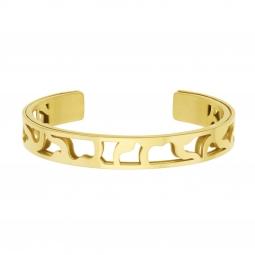 Bracelet jonc Méli Versa en acier doré, 10mm