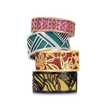 Simili cuir noir-argenté pour bracelet jonc Méli Versa 20mm
