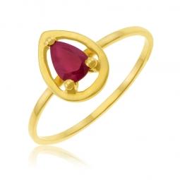 Bague en or jaune et rubis