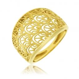 Bague en or jaune, motif plumes