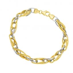 Bracelet en 2 ors maille fantaisie