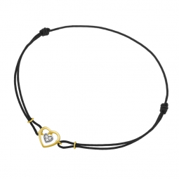 Bracelet or jaune rhodié, cordon noir et diamants