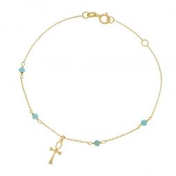 Bracelet en or jaune et turquoises, croix