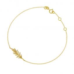 Bracelet or jaune, oxydes de zirconium, plume