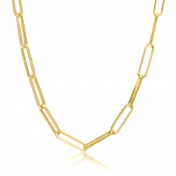 Collier or jaune maille rectangle allongée