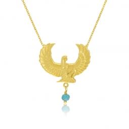 Collier en or jaune et turquoise