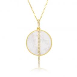 Collier or jaune, diamants et nacre