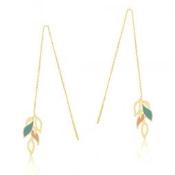 Boucles d'oreilles or jaune et laque, feuilles