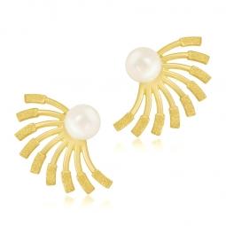 Boucles d'oreilles or jaune et perle de culture