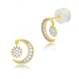 Boucles d'oreilles or jaune et rhodié, oxydes de zirconium