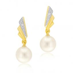 Boucles d'oreilles en or jaune rhodié, diamant et perle de culture