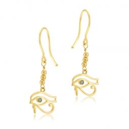 Boucles d'oreilles en or jaune, cristal de synthèse bleu