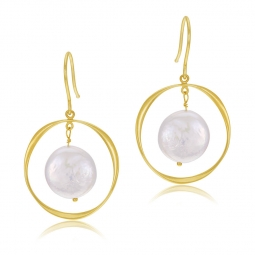 Boucles d'oreilles en or jaune, perle de culture