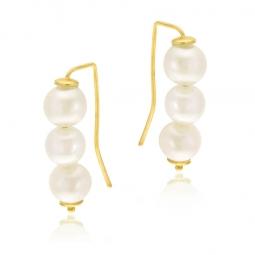 Boucles d'oreilles en or jaune et perles de culture