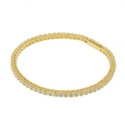 Bracelet en bronze  plaqué or jaune, oxydes de zirconium