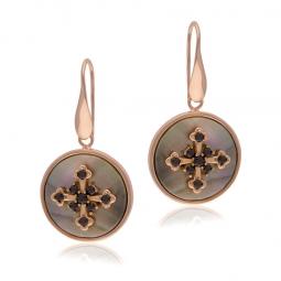 Boucles d'oreilles en bronze plaqué or rose, nacre grise et spinelles