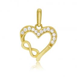 Pendentif en or jaune, oxydes de zirconium, coeur