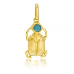 Pendentif en or jaune et cristal de synthèse scarabée