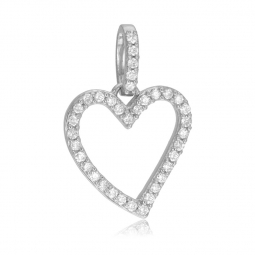 Pendentif en or gris et diamants, coeur