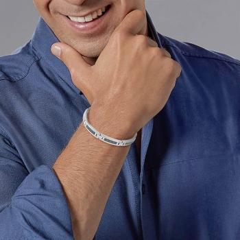 Bracelet en acier et carbone bleu