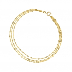 Bracelet or jaune, 3 fils maille fantaisie