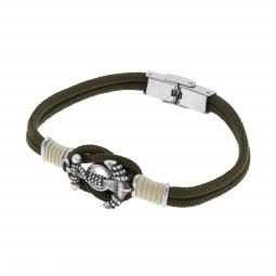 Bracelet cordon et acier, ancre marine
