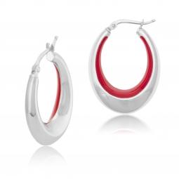 Boucles d'oreilles en argent rhodié et laque rouge