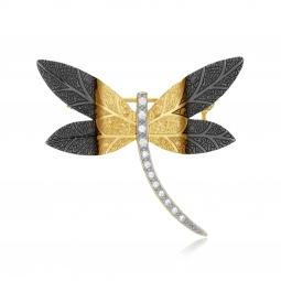 Broche en plaqué or et oxydes de zirconium, libellule