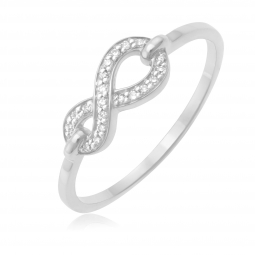 Bague en or gris, motif infini diamants
