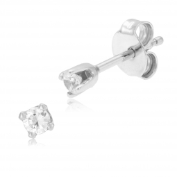 Boucles d'oreilles en or gris, diamant, 4 griffes
