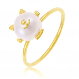 Bague en or jaune et perle de culture, chat