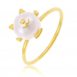 Bague en or jaune et perle de culture, chat