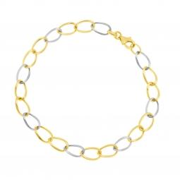 Bracelet en or rhodié, maille ovale