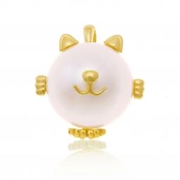 Pendentif en or jaune et perle de culture, chat