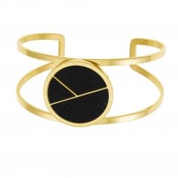 Bracelet jonc en acier doré et laque pailletée