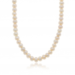 Collier en argent rhodié et perles de culture