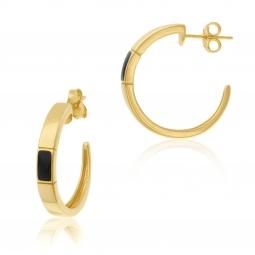 Boucles d'oreilles en plaqué or et laque noire