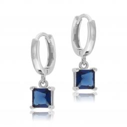 Boucles d'oreilles en argent rhodié et oxydes de zirconium bleus